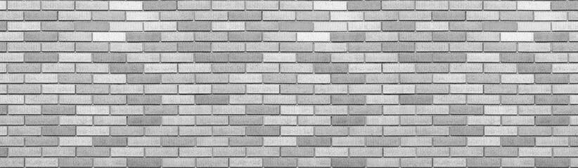 Abstract gray brick wall texture background. Horizontal panoramic view of masonry brick wall. Fototapete