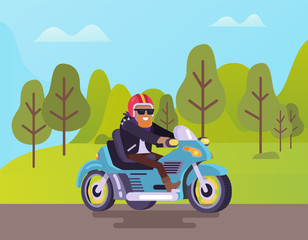 Motorcycle with biker vector, man wearing glasses and helmet riding bike. Nature with greenery of trees, road and bearded biker with smile on face