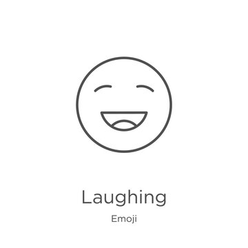 laughing icon vector from emoji collection. Thin line laughing outline icon vector illustration. Outline, thin line laughing icon for website design and mobile, app development