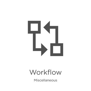 workflow icon vector from miscellaneous collection. Thin line workflow outline icon vector illustration. Outline, thin line workflow icon for website design and mobile, app development