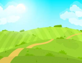 Keuken foto achterwand Lime groen Cartoon Summer Green Field and Road. Vector