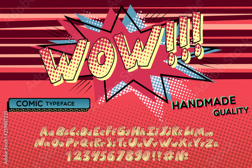 Comic retro font  Alphabet letters & number in style of