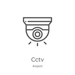 cctv icon vector from airport collection. Thin line cctv outline icon vector illustration. Outline, thin line cctv icon for website design and mobile, app development
