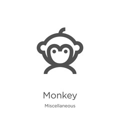 monkey icon vector from miscellaneous collection. Thin line monkey outline icon vector illustration. Outline, thin line monkey icon for website design and mobile, app development