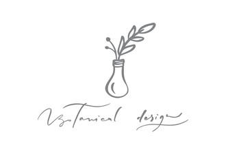 Botanical Design text. Vector trendy scandinavian floral hand drawn beauty, organic cosmetics, florist, photography, wedding logo flower, home decor, badges emblem logotypes. Icon elegant plant