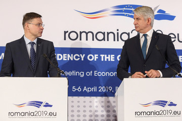 EU Commission Vice-President for Financial Services and Capital Markets Union Valdis Dombrovskis delivers a speech during a joint news conference with Romania's Minister of Public Finance Eugen Orlando Teodorovici