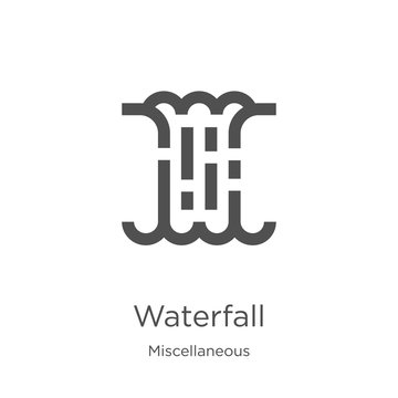 waterfall icon vector from miscellaneous collection. Thin line waterfall outline icon vector illustration. Outline, thin line waterfall icon for website design and mobile, app development