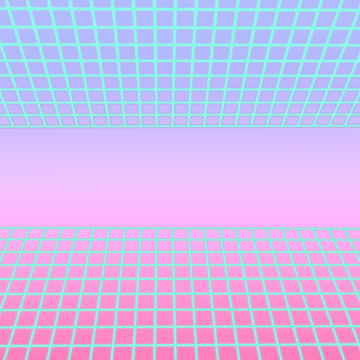 Contemporary art of futuristic neon road on gradient purple background