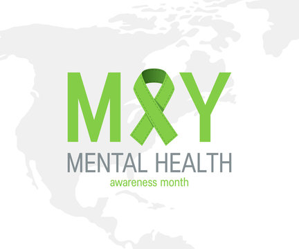 Mental health awareness month, vector flat style