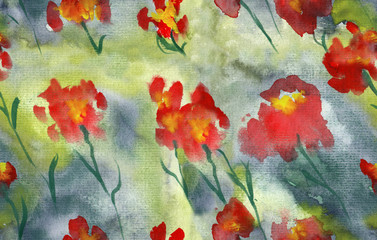 abstract poppies floral seamless pattern design