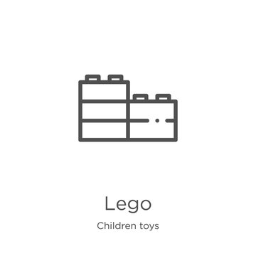 lego icon vector from children toys collection. Thin line lego outline icon vector illustration. Outline, thin line lego icon for website design and mobile, app development