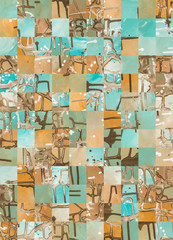 Pixelated turquoise and brown fluid acrylic painting pattern design
