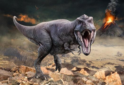 Tyrannosaurus rex scene 3D illustration