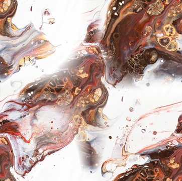 Red, brown and white fluid acrylic pour painting as seamless surface pattern design
