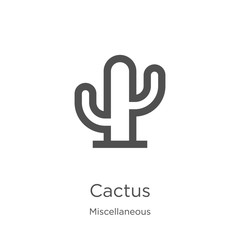 cactus icon vector from miscellaneous collection. Thin line cactus outline icon vector illustration. Outline, thin line cactus icon for website design and mobile, app development