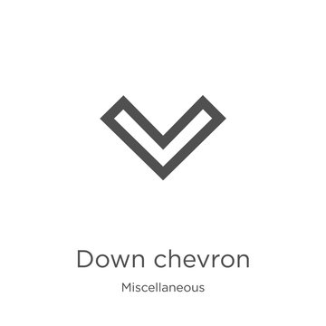 down chevron icon vector from miscellaneous collection. Thin line down chevron outline icon vector illustration. Outline, thin line down chevron icon for website design and mobile, app development