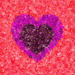 Graphic illustration of heart with a pattern of small flower blossoms