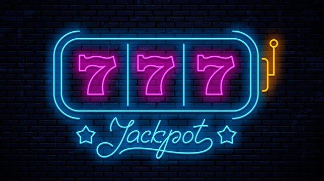 Neon gaming slot machine 777. Neon sign design. Vector game machine. Design lettering Jackpot.
