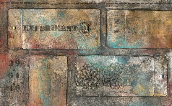 mix media disign with metalic colors and patina