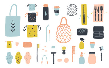Zero waste items for eco friendly living. Vector illustration isolated on white - Vector