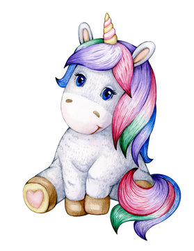 Cute  sitting baby unicorn cartoon, isolated on white.