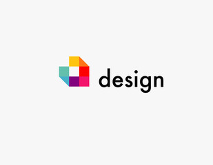 Abstract logo multicolored squares for company design