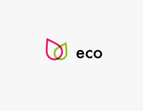 Creative icon logo two leaves plants eco
