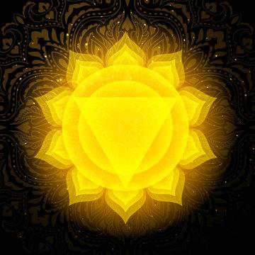 Manipura chakra colorful symbol icon. Solar Plexus Chakra.