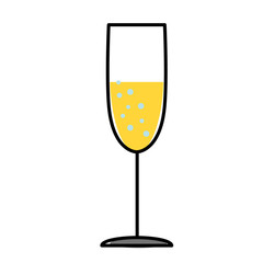 champagne glass flat illustration on white