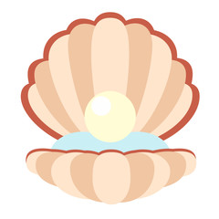 open pearl shell flat illustration on white