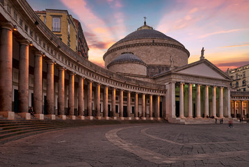 Naples Campania Italy. Basilica reale pontificia di San Francesco di Paola in Piazza Plebiscito at sunset
