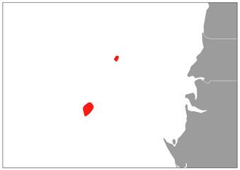 Sao Tome and Principe map on gray base