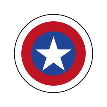 American superhero patriot shield with white star. Captain America shield with star vector eps10.