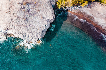 Summer aerial photo of beach and ocean. Free space for your decoration. Gran Canaria island.