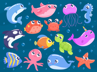 Cute cartoon sea animals vector illustration.