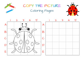 Funny little beetle ladybug. Copy the picture. Coloring book. Educational game for children. Cartoon vector illustration