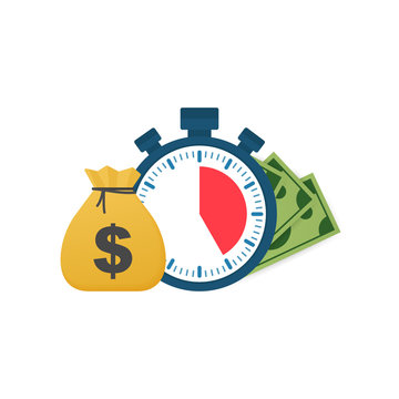 Quick credit. Clock and bag, time is money, fast loan, payment period, savings account. Vector illustration.