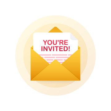 You're invited! Badge icon. Written Inside An Envelope Letter. Vector illustration.