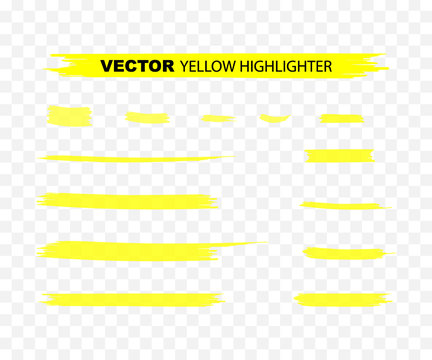 Yellow Highlighter Marker Strokes. Yellow watercolor hand drawn highlight set. Vector illustration.