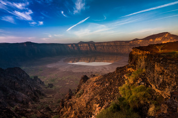 A stunning view of the Al Wahbah crater on a sunny day, Saudi Arabia