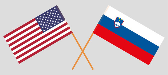 Slovenia and USA. The Slovenian and United States of America flags. Official colors. Correct proportion. Vector