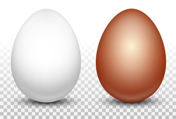 Two white and red chicken eggs. Layout for easter pattern. Eco product. 3D realistic image isolated on transparent background. Vector illustration