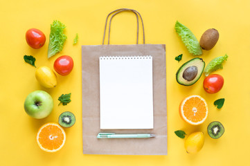 Shopping list healthy food