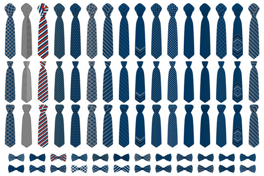 Illustration on theme big colored set neckties different types
