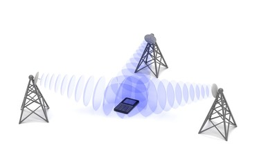 Cellular mobile equipments location, conceptual abstract 3d illustration