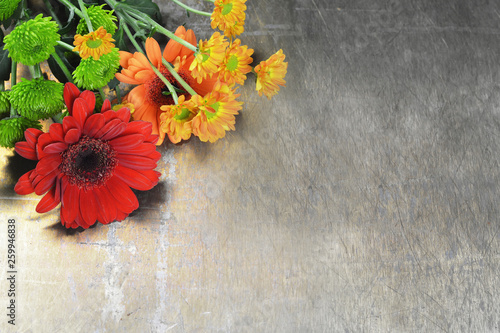 Mothers Day flowers on rusty background