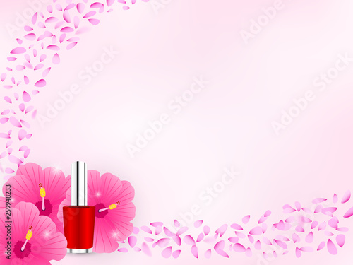 Cosmetic Background With Red Nail Polish And Hibiscus Flower