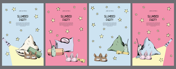 Bright pink and blue night pajama sleepover party invitations set, cards kit, poster template