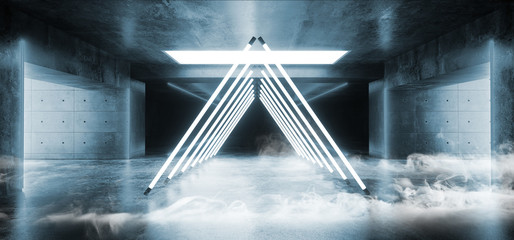 Smoke Empty Sci Fi Futuristic Concrete Hall Garage Underground Room Neon Glowing Laser Vibrant Blue Triangle Construction Fluorescent Lights Virtual Stage Dance Reflections 3D Rendering