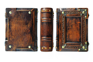 Aged leather book with the embossed frame and the metal corners captured isolated